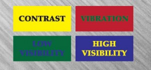 Image of yellow type and blue back, black type and yellow back, green type and red back, blue type and green back