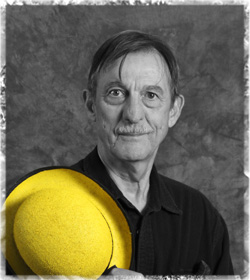Black and white image of steve holding a yellow hat