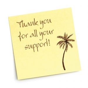 Palm tree and thankyou note