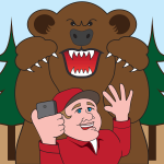 Bear attacking a selfie-taker